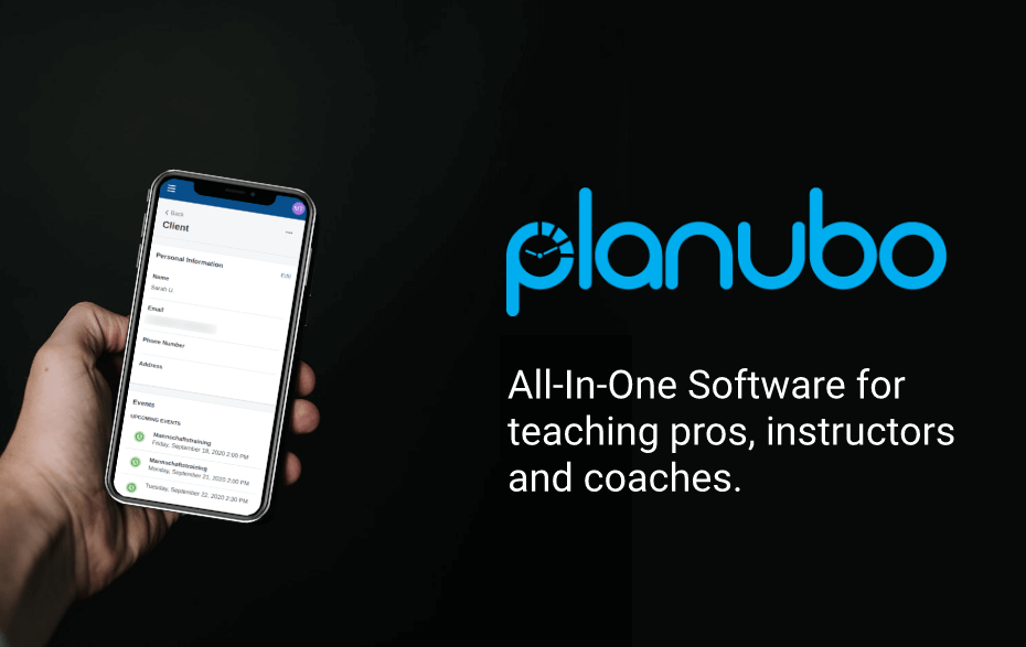 hand holding a phone with the planubo screen on a black background