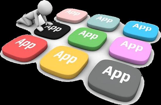 Das Wort app wird auf verschiedenen Tasten der Tastatur angezeigt