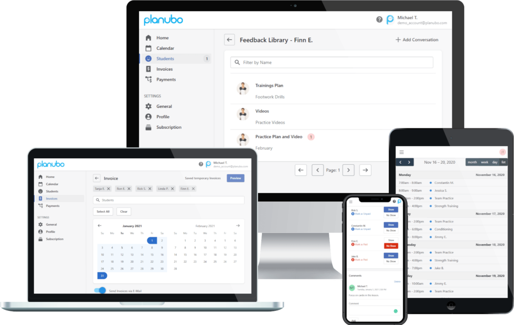 Planubo scheduling software displayed on a desktop, laptop, tablet and phone screen