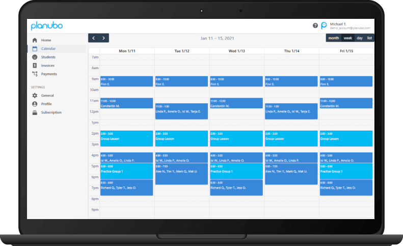 Planubo schedule displayed on a laptop