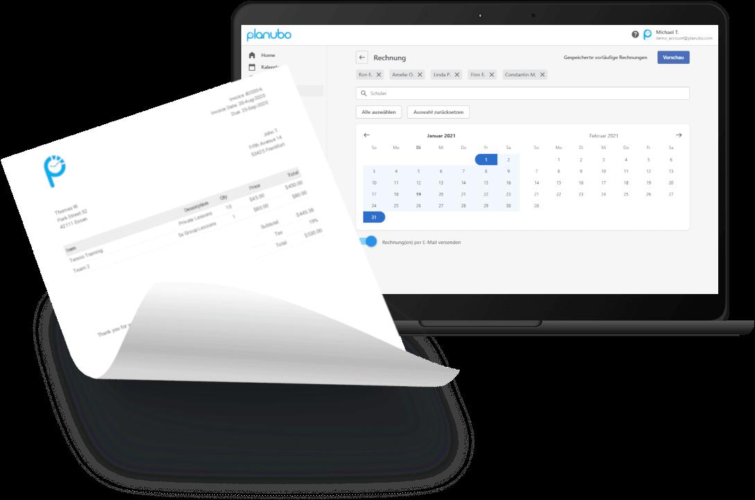 Rechnung auf einem DIN4-Papier und auf einem Laptop