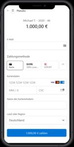 Zahlungsbildschirm auf dem Smartphone angezeigt