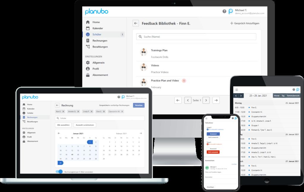 Planubo-Planungssoftware, die auf einem Desktop-, Laptop-, Tablet- und Smartphonebildschirm angezeigt wird
