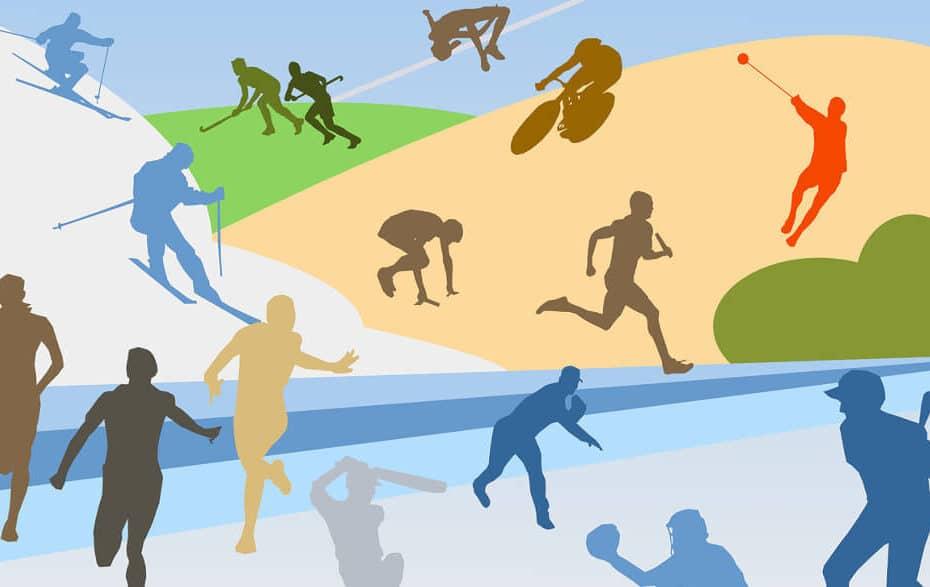 Mehrere Athleten auf einem bunten Hintergrund