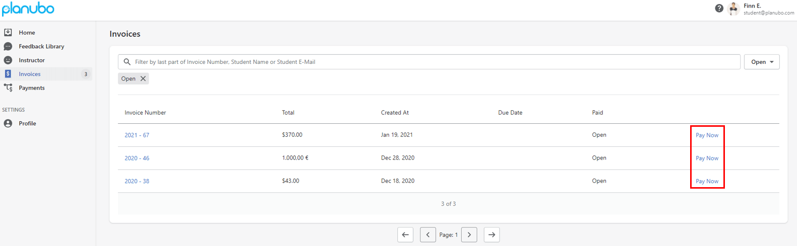 Student invoices after Stripe integration displayed within the Planubo platform
