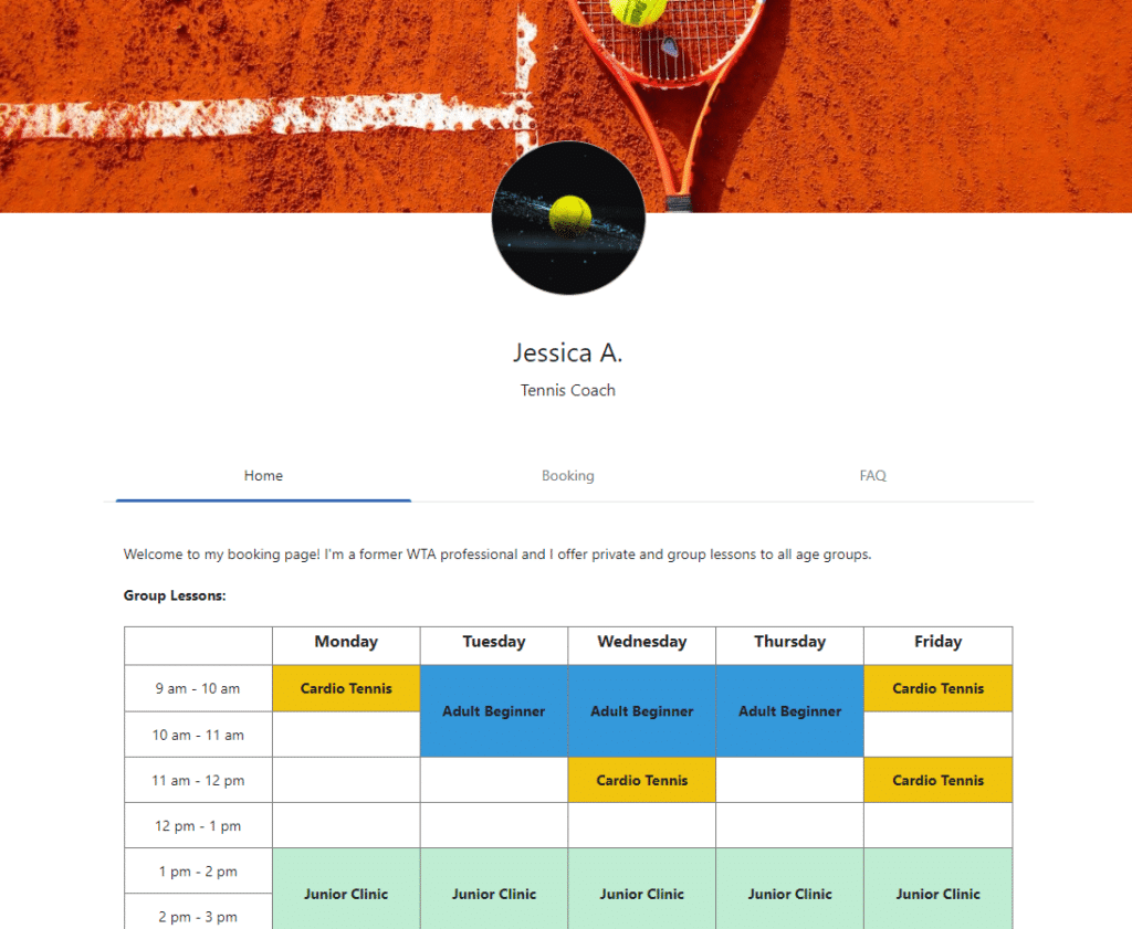 Planubo booking page example of a tennis coach.