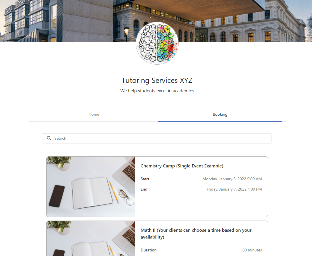 Planubo booking page example of a tutoring service.