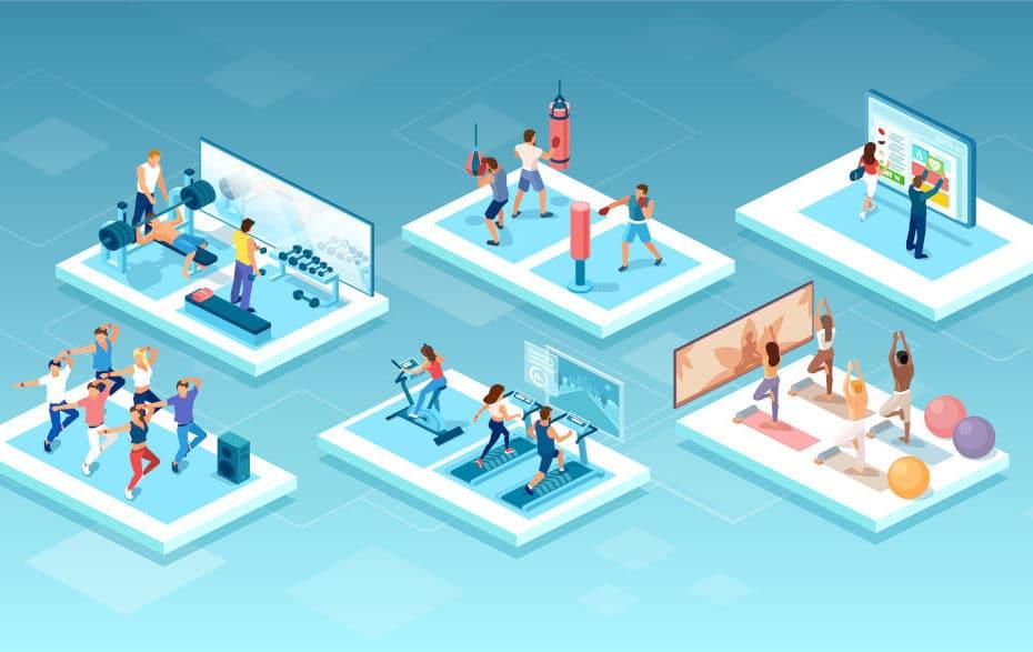 mehrere Trainingssitzungen, die auf blauem Hintergrund angezeigt werden.